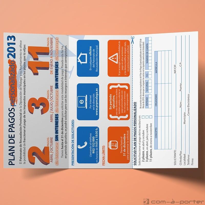 Tríptico Plan de Pagos Personalizado de Impuestos 2013 del Patronato de Recaudación Provincia