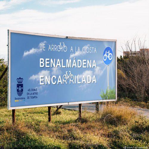 Gráfica exterior (Valla y Mupis) para la campaña del carril bici del Ayuntamiento de Benalmádena