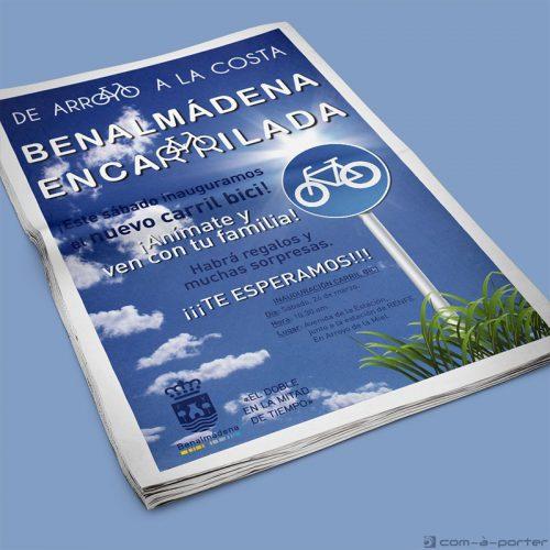 Página completa de Publicidad del Ayuntamiento de Benalmádena para su Campaña del Carril Bici