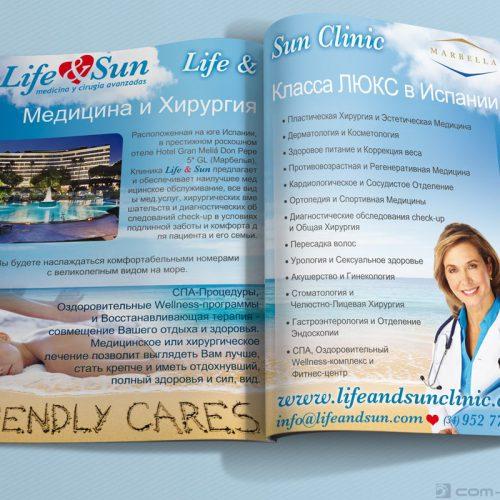 Publicidad a doble página de Life & Sun para revista especializada en Rusia