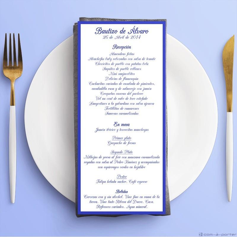 Tarjeta de Menú de Bautizo