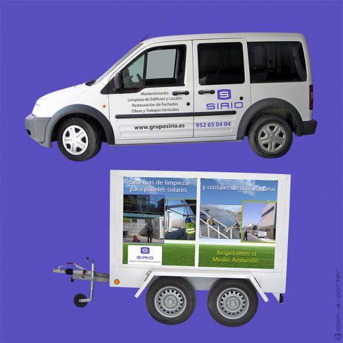 Diseño de rotulación de furgoneta y remolque de Grupo Sirio