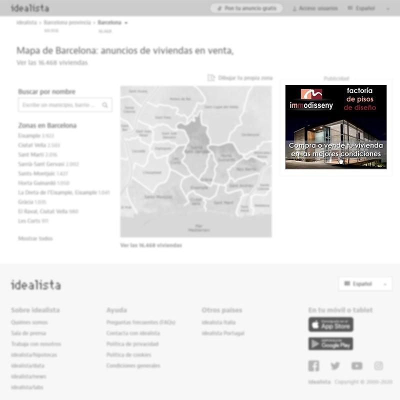 Banner robapágina de agencia inmobiliaria en Barcelona para portal inmobiliario www.idealista.com