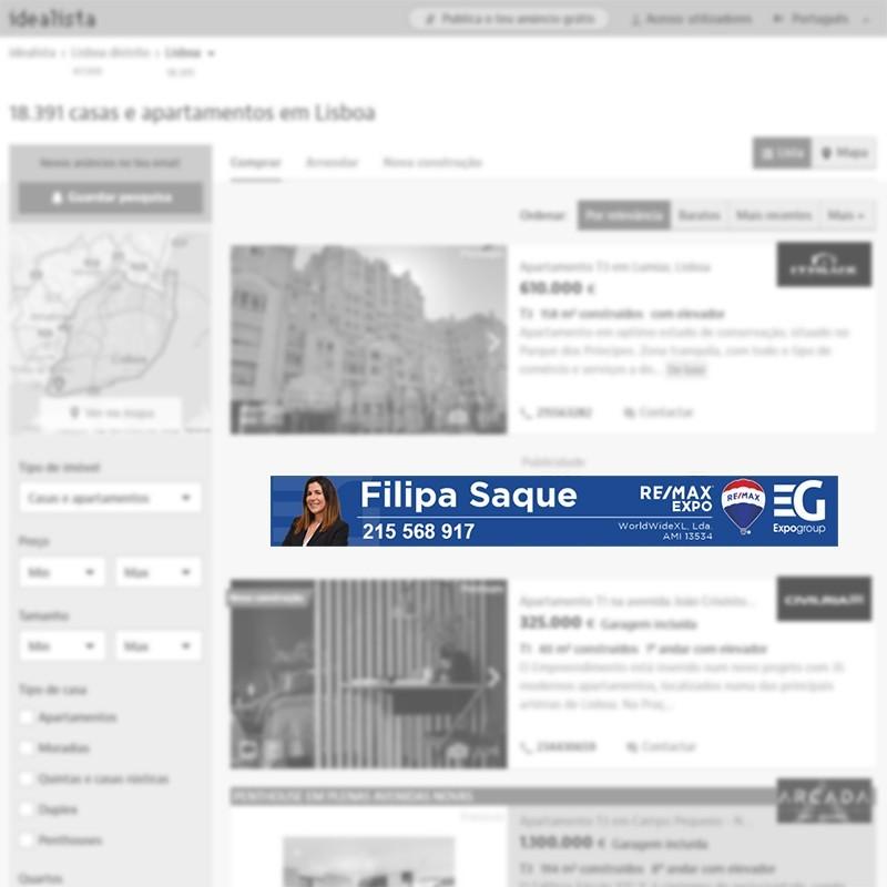 Megabanner de agente inmobiliaria en Lisboa (Portugal) para portal inmobiliario www.idealista.pt