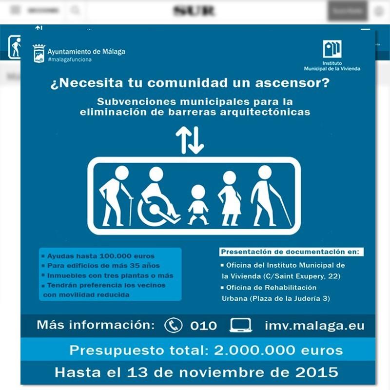 Banner billboard con desplegable del Instituto Municipal de la Vivienda del Ayuntamiento de Málaga