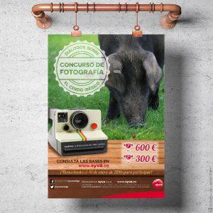 Cartel de convocatoria del Concurso Bianual de Fotografía sobre el Cerdo Ibérico de Laboratorios Syva