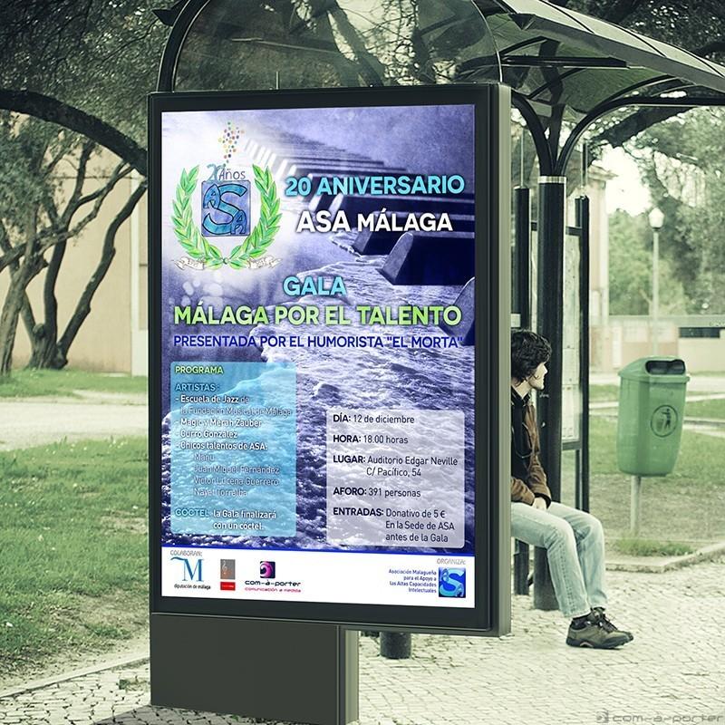 Cartel de la gala conmemorativa del 20º Aniversario de ASA Málaga