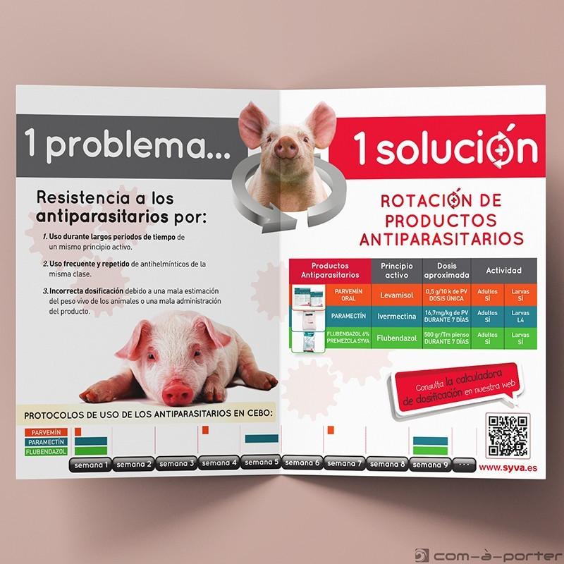 Díptico informativo de informativo de Rotación de Productos Antiparasitarios Porcinos de Laboratorios Syva
