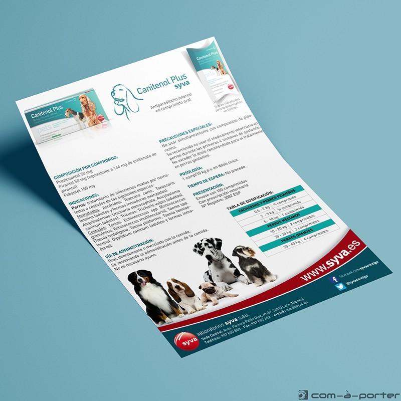 Flyer en Español de Lanzamiento de Producto Antiparasitario para Perros (Canitenol Plus) de Laboratorios Syva