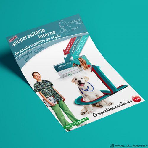 Flyer en Portugués de Lanzamiento de Producto Antiparasitario para Perros (Canitenol Plus) de Laboratorios Syva