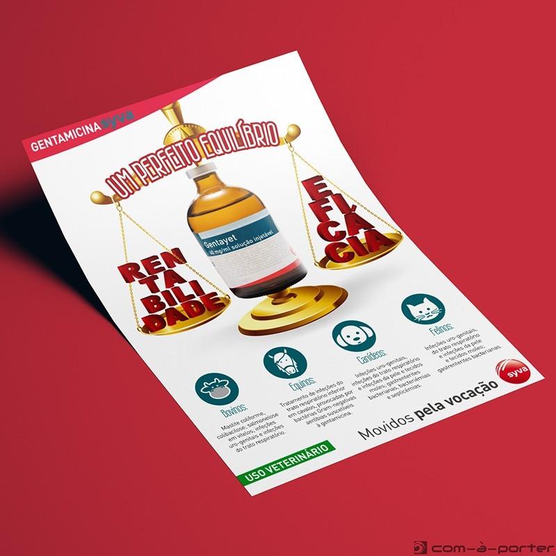 Flyer informativo de Producto Antibacteriano (Gentayet) de Laboratorios Syva en Portugal