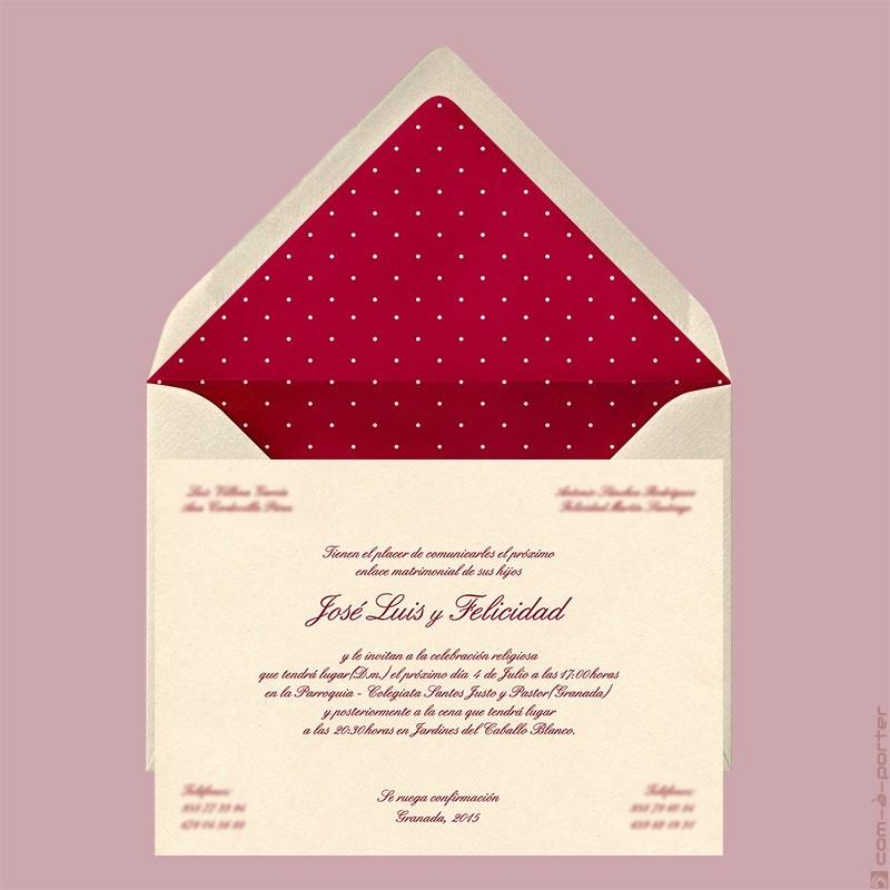 Diseño de Invitación de Boda en Granada, con sobre forrado a lunaritos