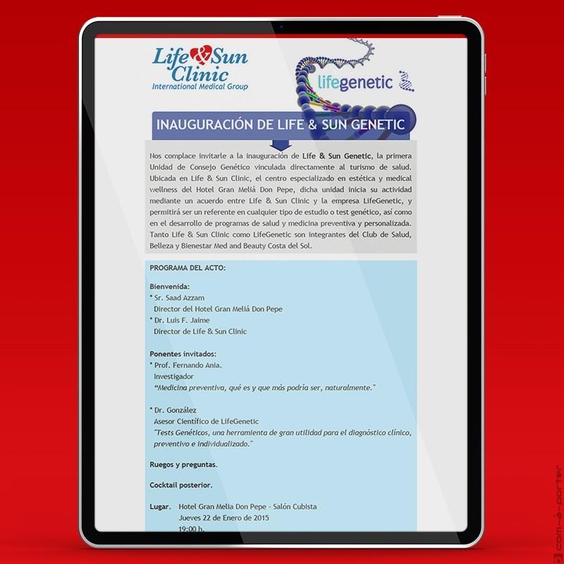 Invitación electrónica de inauguración de Life & Sun Genetic