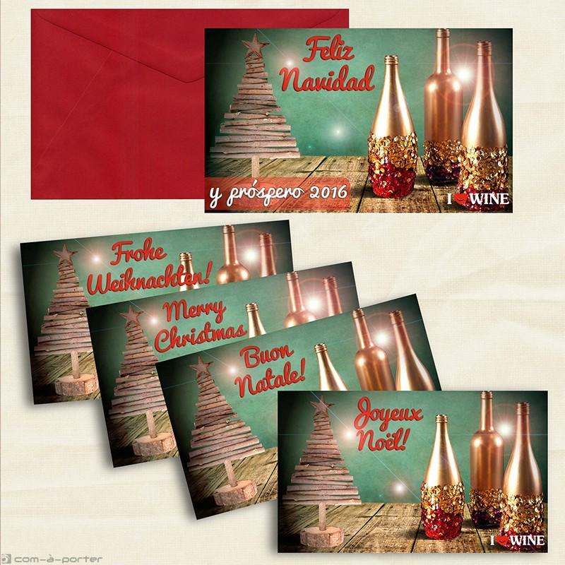 Diseño de Tarjetón – Felicitación de Navidad y próspero 2016 (ILOVEWINE)