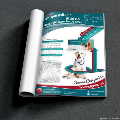 Página completa de Publicidad promocional de producto antiparasitario para perros de Laboratorios Syva