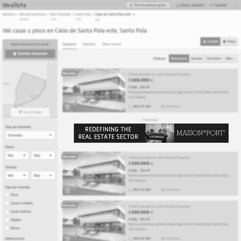 Megabanner de agencia inmobiliaria en Santa Pola (Alicante) para portal inmobiliario www.idealista.com