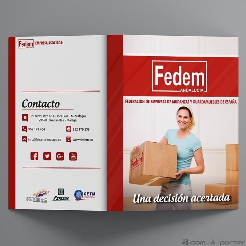 Díptico informativo de servicios de la Federación de Empresas de Mudanzas y Guardamuebles de España (FEDEM)