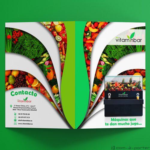 Díptico informativo de las máquinas de zumos de My VitaminBar