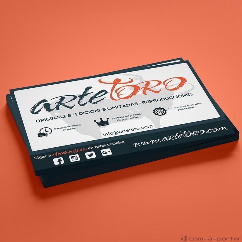 Flyer comercial de la tienda online de cuadros taurinos www.artetoro.com