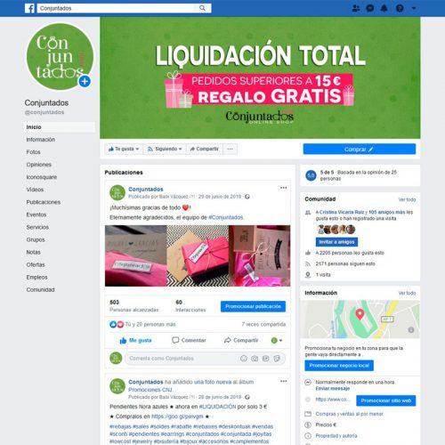 Gestión del perfil de Facebook de Conjuntados.com Online Shop