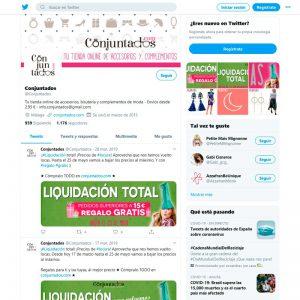 Gestión del perfil de Twitter de Conjuntados.com Online Shop