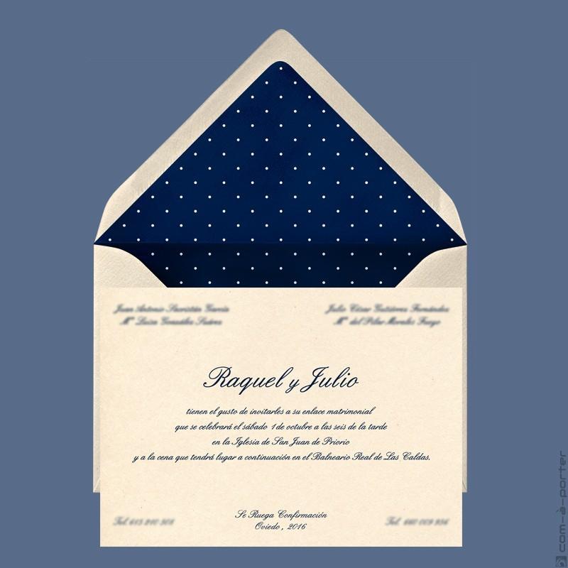 Invitación de Boda en Oviedo con sobre forrado de lunares con fondo azul marino