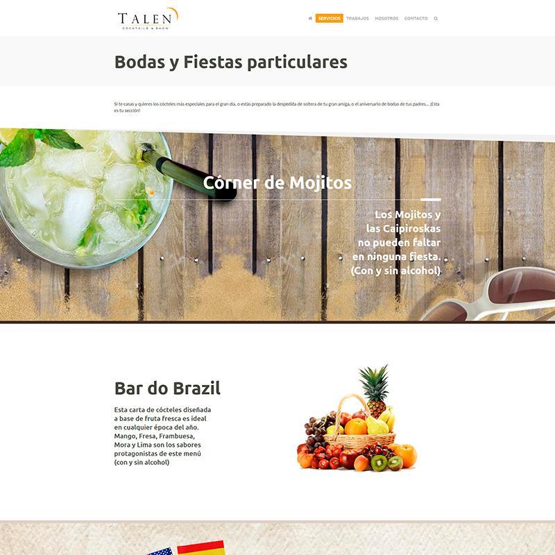 Página web de TALEN Cocktails & Show