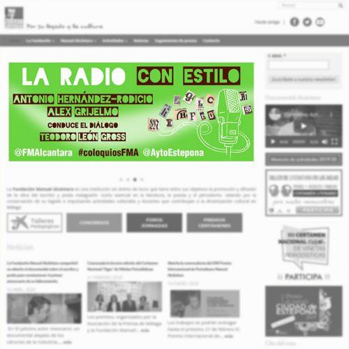 """Banner informativo del Encuentro / coloquio """"La Radio con Estilo"""" de la Fundación Manuel Alcántara"""