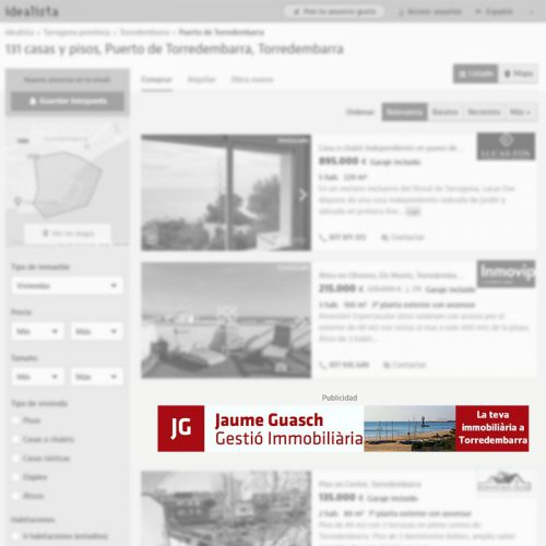 Megabanner de agencia inmobiliaria en Torredembarra (Tarragona) para portal inmobiliario www.idealista.com
