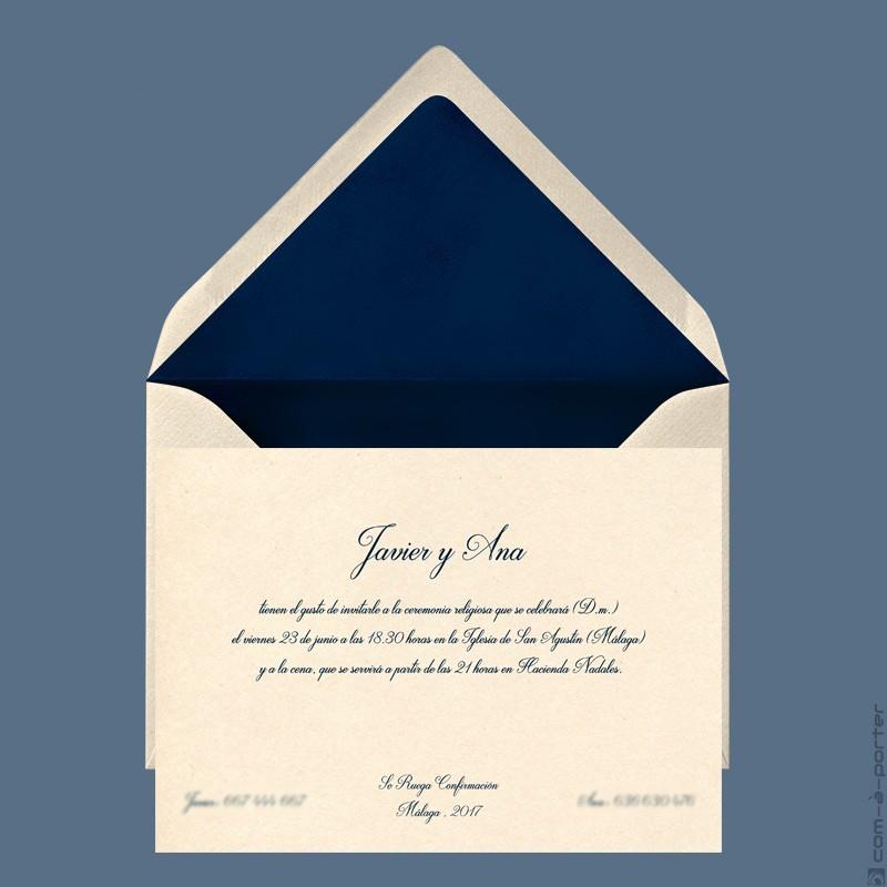 Invitación de Boda en Málaga con sobre forrado con fondo azul marino