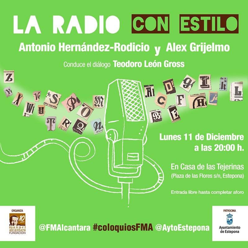 """Adaptación para las Redes Sociales del cartel del Encuentro / coloquio """"La Radio con Estilo"""" de la Fundación Manuel Alcántara"""