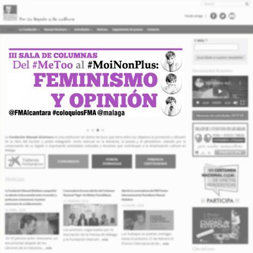 """Banner informativo del Encuentro / Coloquio """"Feminismo y Opinión"""" de la Fundación Manuel Alcántara"""