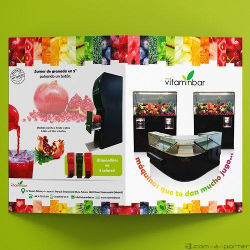 Díptico publicitario de las máquinas de zumos de My VitaminBar