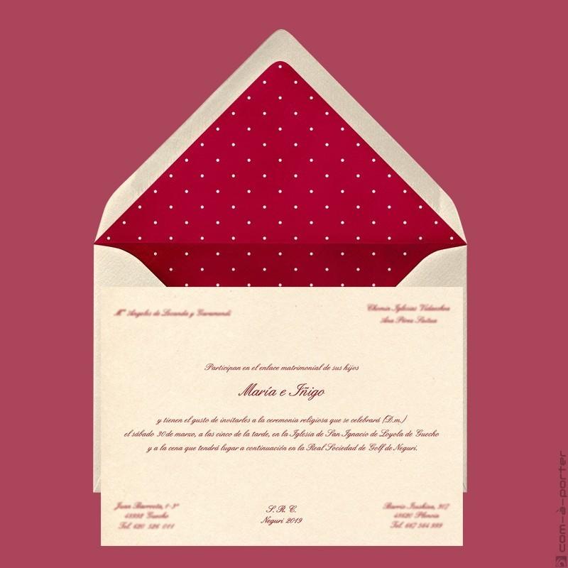 Diseño de Invitación de Boda en Getxo (Vizcaya)