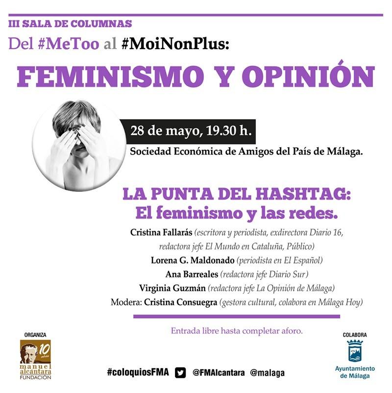 """Adaptación para las Redes Sociales del cartel del Encuentro / Coloquio """"Feminismo y Opinión"""" de la Fundación Manuel Alcántara"""