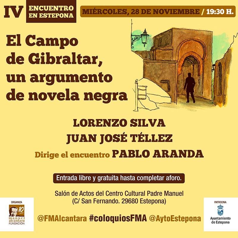 """Adaptación para las Redes Sociales del cartel del Encuentro / Coloquio """"El Campo de Gibraltar: un argumento de novela negra"""" de la Fundación Manuel Alcántara"""