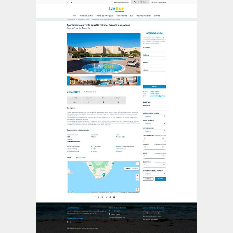 Página Web de LarSur Inmuebles