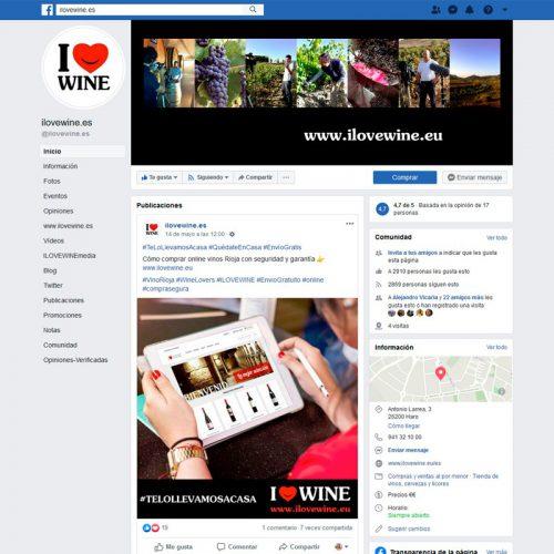 Gestión del perfil de Facebook de ILOVEWINE