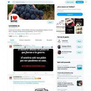 Gestión del perfil de Twitter de ILOVEWINE