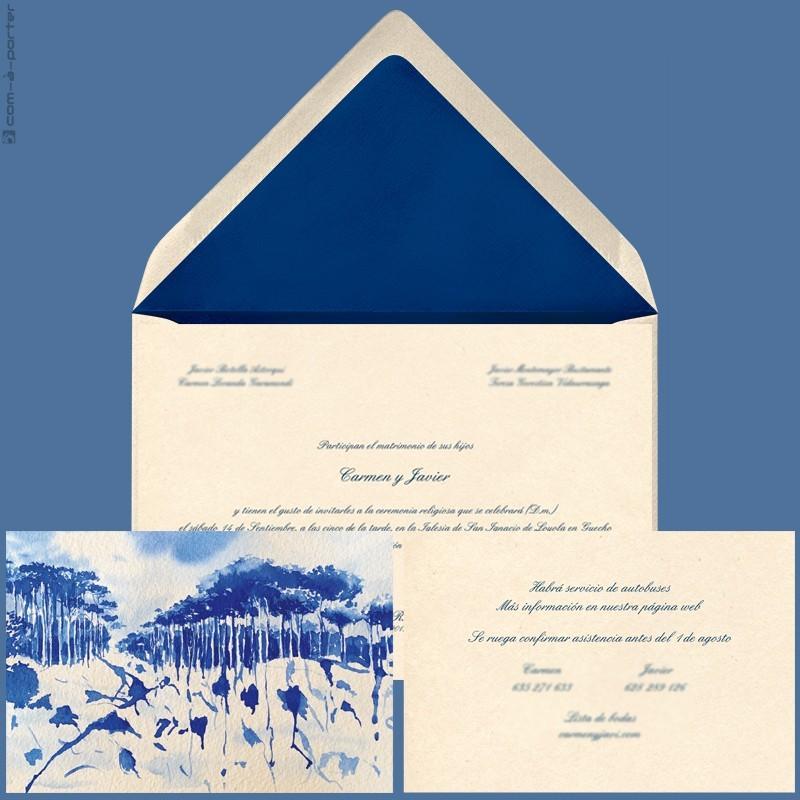 Diseño de Invitación de Boda con sobre azul en Getxo (Vizcaya)