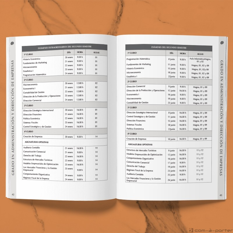Maquetación del Libro Programación Académica Curso 2019/2020 de la Facultad de Ciencias Económicas y Empresariales de la Universidad de Málaga