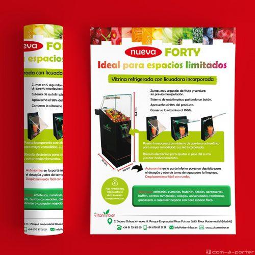 Flyer para encarte de la nueva máquina Forty de My VitaminBar