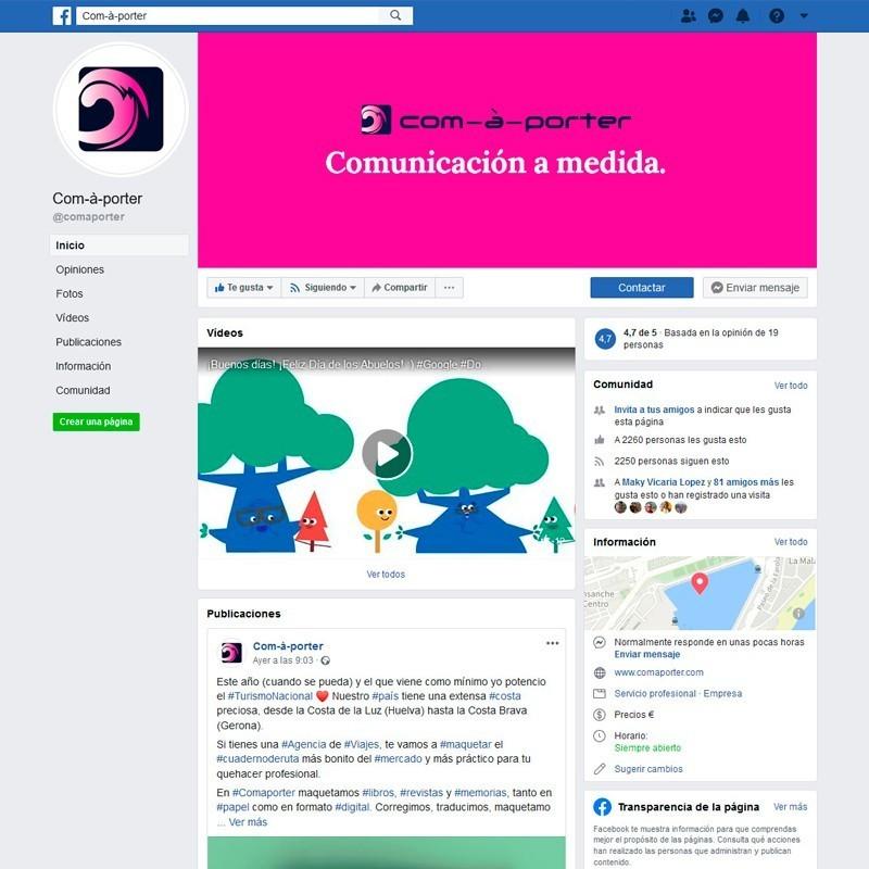 Gestión del perfil de Facebook de Com-à-porter