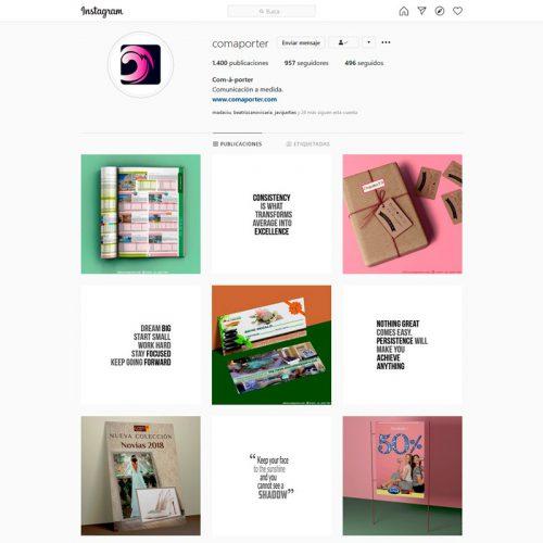 Gestión del perfil de Instagram de Com-à-porter