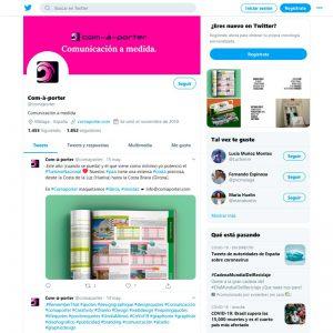 Gestión del perfil de Twitter de Com-à-porter