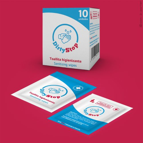 Packaging de Toallita Higienizante DirtyStop