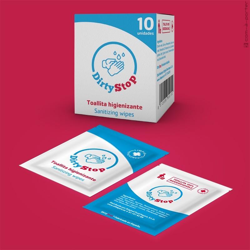 Packaging de Toallita Higienizante DirtyStop