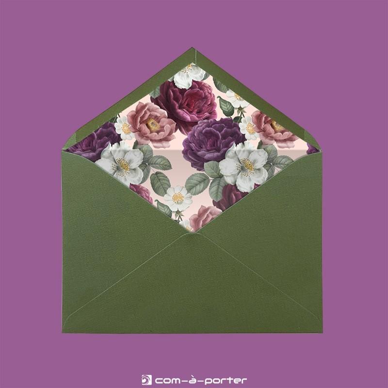 Diseño de sobre forrado verde oliva con estampado de flores vintage de estilo romántico para Invitación de Boda