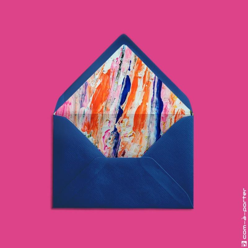 Diseño de sobre forrado azul noche con fondo de acuarela abstracto para Invitación de Boda