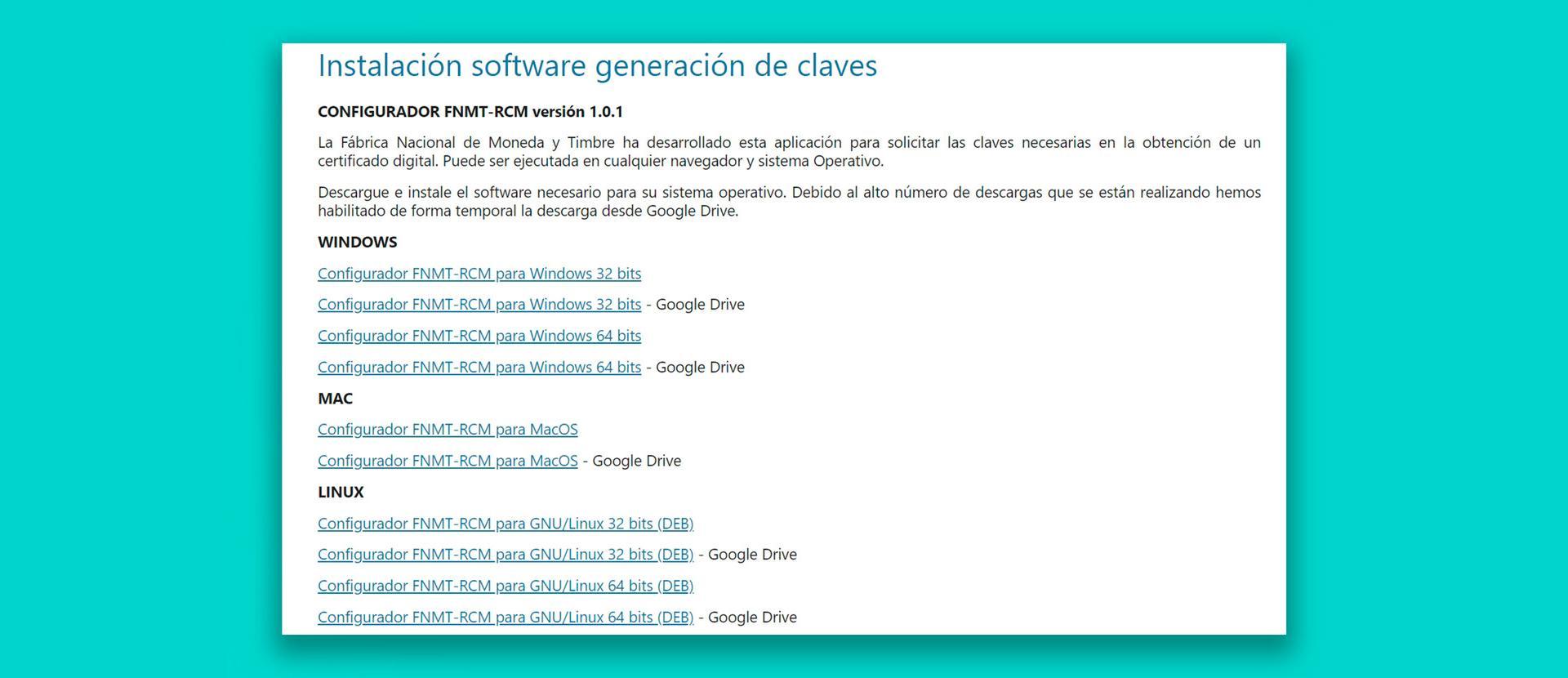La descarga de la app para solicitar el certificado digital de la FNMT en Google Drive … ¿en serio?